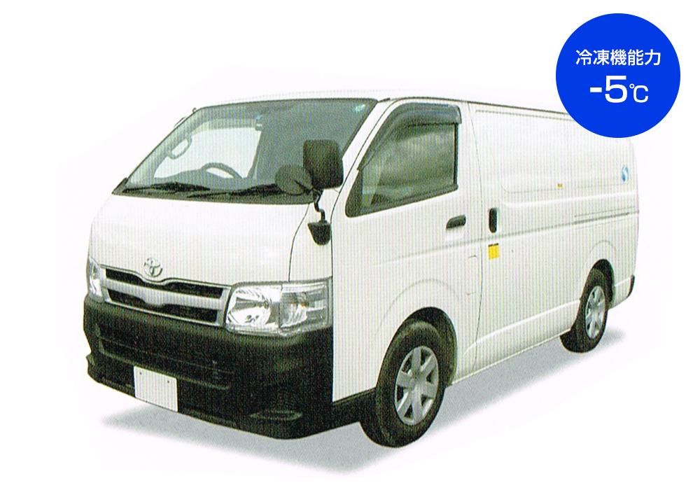 バンタイプの冷凍車レンタカー1.25t 冷凍機能力−5℃